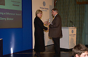 Polly Toynbee and Gerry Stoker, Political Studies Association Awards 2004. Institute of Directors, Pall Mall. London SW1. 30 November 2004.  ONE TIME USE ONLY - DO NOT ARCHIVE  © Copyright Photograph by Dafydd Jones 66 Stockwell Park Rd. London SW9 0DA Tel 020 7733 0108 www.dafjones.com