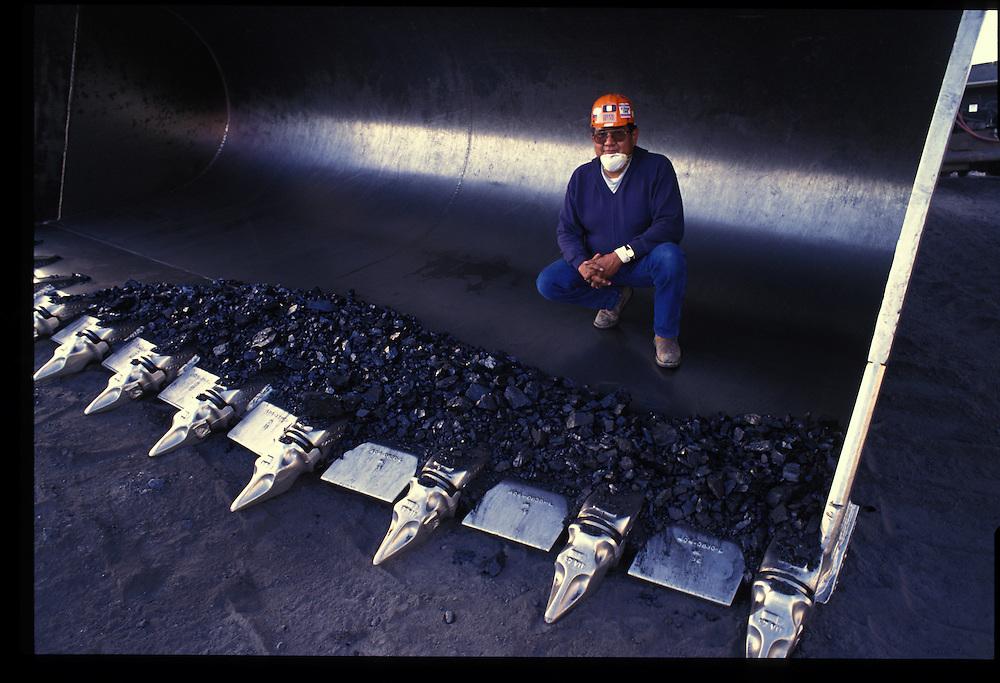 Tony Begay in a 30-cubic yard coal shovel.  Pittsberg and Midway Coal Mine.  Tse Bonito, NM  1993