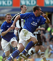 Everton's David Unsworth celebrates scoring the winning goal from the penalty spot with Wayne Rooney against Newcastle during the Premiership match at Goodison Park, Liverpool, Sunday, March 6th, 2003.<br /><br />Pic by David Rawcliffe/Digitalsport