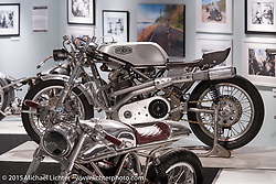 "Kenny Cummings custom Norton at Michael Lichter's Motorcycles as Art annual exhibition titled ""The Naked Truth"" at the Buffalo Chip Gallery during the 75th Annual Sturgis Black Hills Motorcycle Rally.  SD, USA.  August 4, 2015.  Photography ©2015 Michael Lichter."