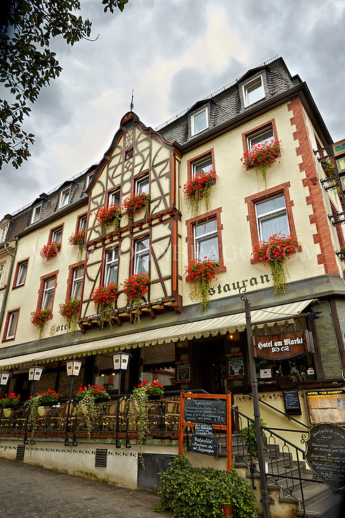 View at the front entrance to the Hotel am Markt; a tudor style building which houses a wonderful hotel and restaurant, St. Goar, Germany.