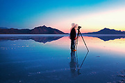 Image of a photographer photographing the Bonneville Salt Flats in Wendover, Utah, American Southwest by Randy Wells
