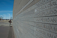 At Memorial Park, along the Rio de La Plata, the long wall with the names of the victims of state terrorism