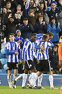 Sheffield wednesday celebrate Gary Hooper of Sheffield Wednesday scoring to go 4-1 up  during the Sky Bet Championship match between Sheffield Wednesday and Wolverhampton Wanderers at Hillsborough, Sheffield, England on 20 December 2015. Photo by Ian Lyall.