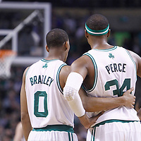 01 April 2012: Boston Celtics shooting guard Avery Bradley (0) and Boston Celtics small forward Paul Pierce (34) celebrate during the Boston Celtics 91-72 victory over the Miami Heat at the TD Banknorth Garden, Boston, Massachusetts, USA. NOTE TO USER: User expressly acknowledges and agrees that, by downloading and or using this photograph, User is consenting to the terms and conditions of the Getty Images License Agreement. Mandatory Credit: 2012 NBAE (Photo by Chris Elise/NBAE via Getty Images)
