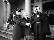 Garda Siochana Diamond Jubilee..1982.21.02,1982.02.21.1982.21st February 1982..Picture shows Comissioner Mc Laughlin and his wife being welcomed to Mount Argus by Rev.Fr.Patrick Rodgers,C.P.
