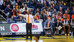 Jan 12, 2019; Morgantown, WV, USA; Oklahoma State Cowboys head coach Mike Boynton yells from the bench during the second half against the West Virginia Mountaineers at WVU Coliseum. Mandatory Credit: Ben Queen-USA TODAY Sports