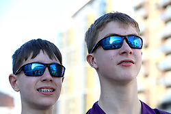 A general view of the Wembley Stadium arch reflected in the sunglasses of supporters prior to the beginning of the Carabao Cup Final at Wembley Stadium, London.
