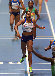 Great Britain's Shelayna Oskan-Clarke crosses the line in third to win bronze during the women's 800m final during day four of the 2018 IAAF Indoor World Championships at The Arena Birmingham.