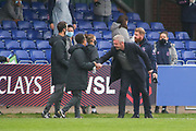 Everton manager Willie Kirk shakes hands with Brighton & Hove Albion Manager Hope Powell during the FA Women's Super League match between Everton Women and Brighton and Hove Albion Women at the Select Security Stadium, Halton, United Kingdom on 18 October 2020.