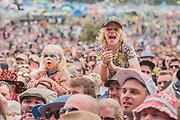 Young fans - Swedish band First Aid Kit (sisters, Klara and Johanna Söderberg) perform on the Pyramid Stage - The 2017 Glastonbury Festival, Worthy Farm. Glastonbury, 23 June 2017