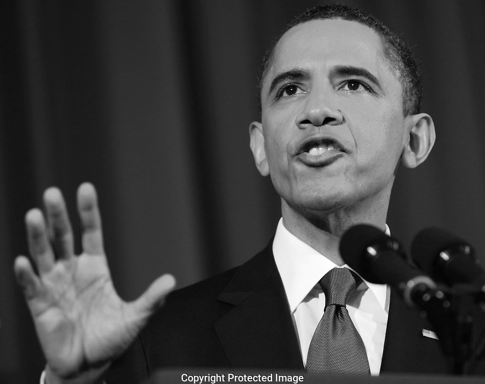 President Barack Obama updates the American people on the situation in Libya. President Obama is speaking at the National Defense University in Washington, DC on March 28, 2011.  photo by Dennis Brack