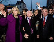 President Elect Michael D Higgins arriving back to Hotel Meyrick in Galway to a huge welcome from Tainaiste Eamon Gilmore. Photo:Andrew Downes
