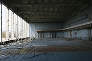 Chernobyl, Exclusion Zone, Ukraine. Empty  gymn and sports centre. Pripyat Town built 15 years before the Chernobyl reactor fire. The whole town was evacuated shortly after. The  Chernobyl Reactor, towns, plant and environs just before the 20th anniversary of the nuclear disaster.