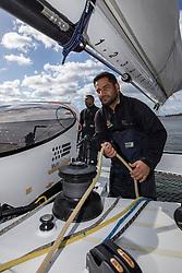 Mohsin Al Busaidi (OMA). Oman Sail's MOD70 Musandam during Kiel week 2014, 22-06-2014, Kiel - Germany.