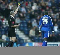 Photo: Aidan Ellis.<br /> Preston NE v Cardiff City. Coca Cola Championship.<br /> 19/11/2005.<br /> Cardiff's Michael Ricketts recieves a yellow card