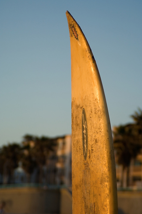 Tip of surfboard at sunset, Pacific Beach, California.