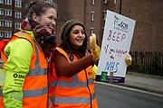 Homerton hospital, Hackney, London. Junior doctors on strike for 24 hours, asking motorists to beep in support.