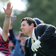 Ryder Cup 2016. Rory McIlory of Europe reacts to his tee shot on the sixth hole during practice day at the Hazeltine National Golf Club on September 29, 2016 in Chaska, Minnesota.  (Photo by Tim Clayton/Corbis via Getty Images)