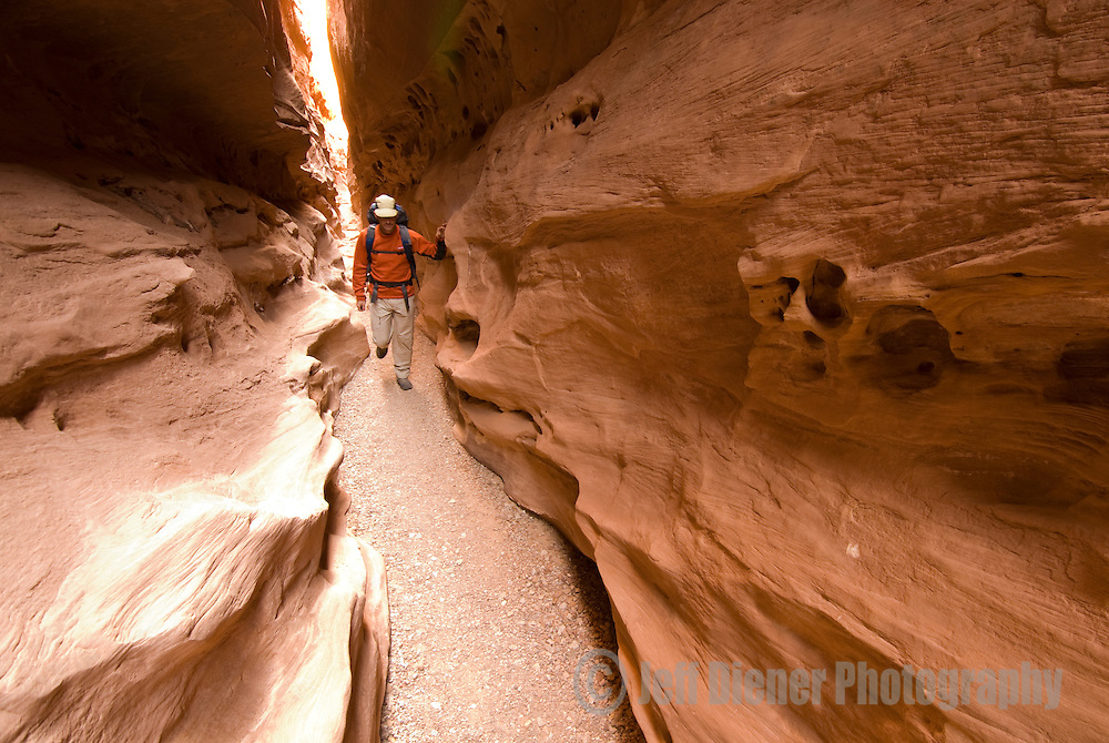 A hiker explores Little Wildhorse Canyon in the San Rafael Swell, Utah.