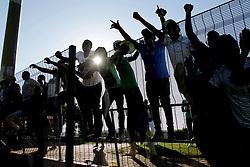 22042018 (Durban) Fans having fun during Maritzburg United FC make their way to the final of the Nedbank when playing against Mamelodi Sundowns FC at the Harry Gwala Stadium in Pietermaritzburg, KZN yesterday.<br /> Picture: Motshwari Mofokeng/ANA