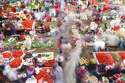 Indoor produce market, Chichicastenango, Guatemala