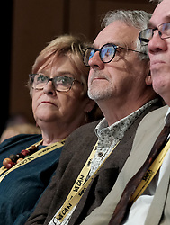 SNP Spring Conference, Sunday 28th April 2019<br /> <br /> Pictured: First Minister Nicola Sturgeon's parents, Jean and Robin Sturgeon, watch her speech to conference<br /> <br /> Alex Todd | Edinburgh Elite media