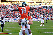 CHARLOTTESVILLE, VA- NOVEMBER 12: Wide receiver Kris Burd (18) and tight end Colter Phillips (89) of the Virginia Cavaliers celebrate a touchdown during the game against the Duke Blue Devils on November 12, 2011 at Scott Stadium in Charlottesville, Virginia. Virginia defeated Duke 31-21. (Photo by Andrew Shurtleff/Getty Images) *** Local Caption *** Kris Burd;Colter Phillips