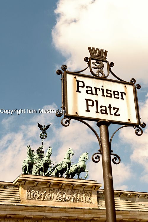 Detail of ornate historic street sign at Pariser Platz and Brandenburg Gate in Berlin Germany