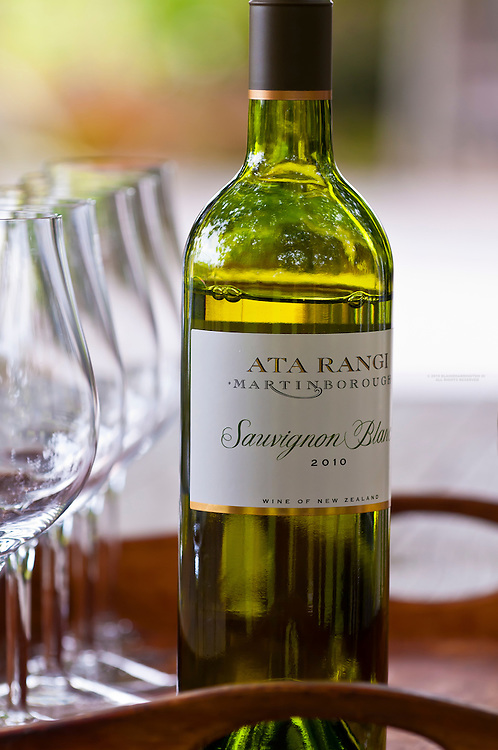 Wine glasses arranged for a wine tasting of a sauvignon blanc, Ata Rangi Winery, Martinborough, Wairarapa region near Wellington, North Island, New Zealand