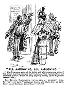 """""""All A-Growing, All A-Blowing' [""""Miss Nicholson spoke of the facility with which vegetarian might, if they pressed their demands upon tradesmen, obtain vegetarian boots and vegetarian gloves."""" - Report in Daily Paper of Meeting of the Vegetarian Federal Union.] Our Lunatic Contributor thinks this an excellent idea. But why not have vegetarian coats, and hats, too - in fact, vegetarian clothing from head to foot?"""