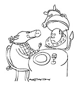 (A pig eating in a restaurant licks its lips when it is presented with a man's head on a plate for its meal)
