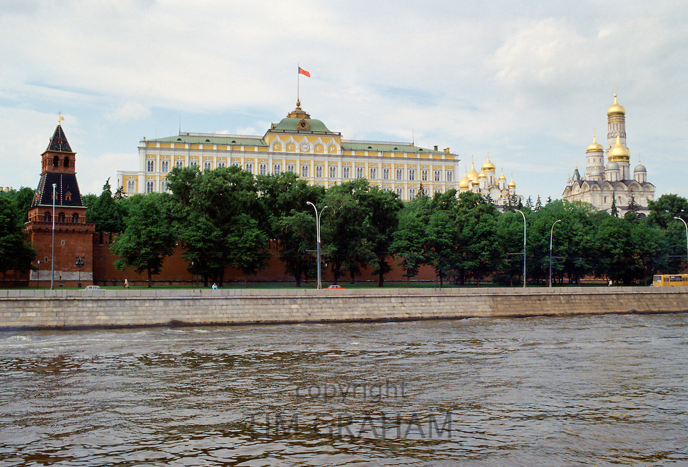 The Kremlin, Archangel Michael Cathedral, and Moscow River, Russia