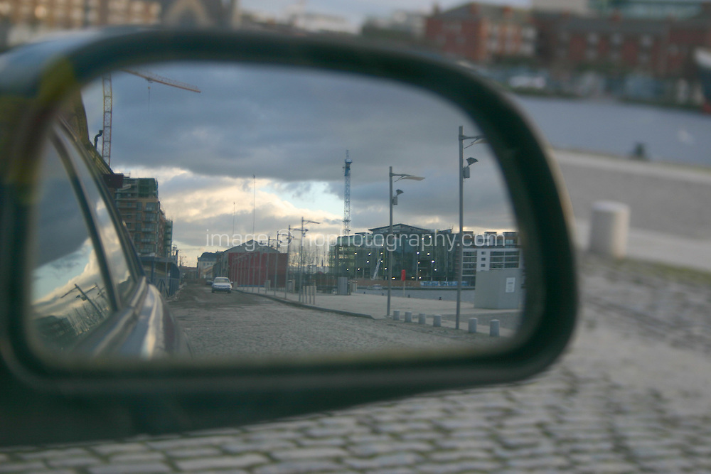 Reflection in wing mirror of car, Dublin, Ireland