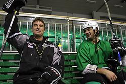 Head coach Mike Posma and player Frank Banham of Canada at second ice hockey practice of HDD Tilia Olimpija on ice in the new season 2008/2009, on August 19, 2008 in Hala Tivoli, Ljubljana, Slovenia. (Photo by Vid Ponikvar / Sportal Images)
