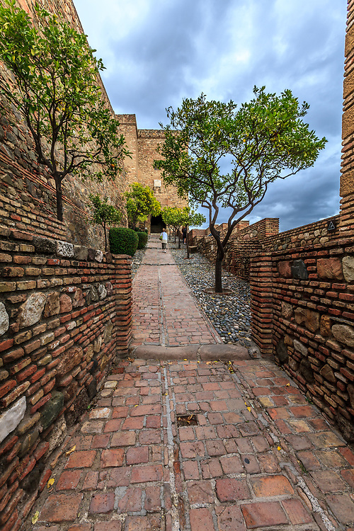 Christs Gate (Torre del Cristo) in the Alcazaba of Málaga in Malaga, Spain. The Alcazaba of Málaga is the best-preserved Moorish fortress-palace in Malaga, Spain.