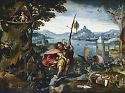 St Christopher Crossing the River.  St Christopher reaches the bank with the Christ Child on his shoulder. Landscape filled with strange creatures reminiscent of Hieronymous Bosch. Jan Wellen de Cock (active 1503: d1526) Flemish painter. Oil on wood. Private collection.