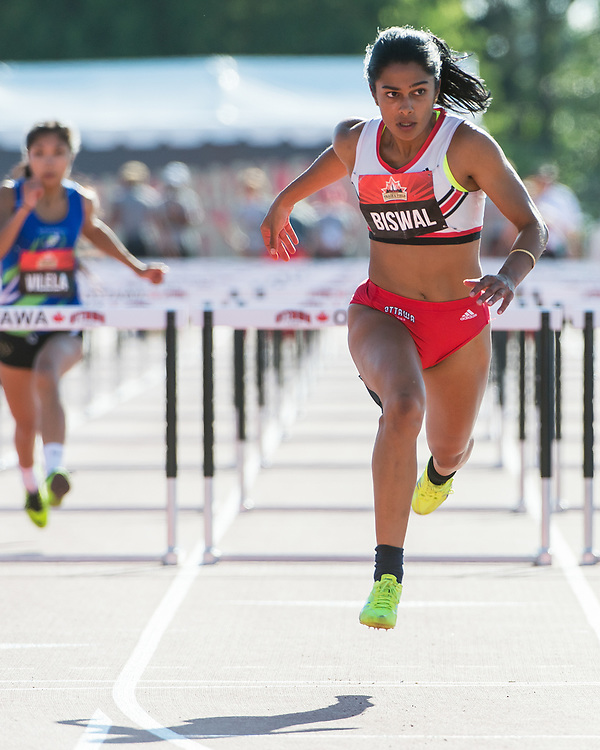 OTTAWA - JULY 08: Devyani Biswal competes in the Women's 110m hurdles semi-final during the 2017 Canadian Track and Field Championships at the Terry Fox Athletic Facility in Ottawa, ON., Canada on July 7, 2017.<br /> <br /> Photo: Steve Kingsman for Sports Ottawa/Ottawa Sportspage