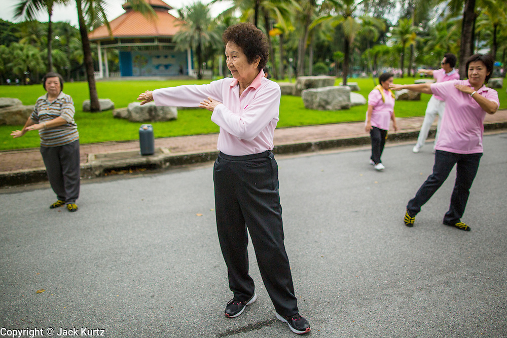 06 OCTOBER 2012 - BANGKOK, THAILAND:  Women do Tai Chi exercises early in the morning in Lumphini Park in Bangkok. The Thai government promotes exercise classes as a way staying healthy. Lumphini Park is 142 acre (57.6-hectare) park in Bangkok, Thailand. This park offers rare open public space, trees and playgrounds in the congested Thai capital. It contains an artificial lake where visitors can rent boats. Exercise classes and exercise clubs meet in the park for early morning workouts and paths around the park totalling approximately 1.55 miles (2.5km) in length are a popular area for joggers. Cycling is only permitted during the day between the times of 5am to 3pm. Smoking is banned throughout smoking ban the park. The park was created in the 1920's and named after Lumbini, the birthplace of the Buddha in Nepal.   PHOTO BY JACK KURTZ