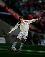 Photo: Tom Dulat.<br /> England v Estonia. UEFA European Championships Qualifying. 13/10/2007.<br /> PPhil Neville of England kicks the ball.