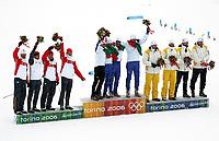 OL 2006 Langrenn menn stafett,<br />Pragelato Plan<br />19..02.06 <br />Foto: Sigbjørn Hofsmo, Digitalsport <br /><br /><br />ITA Fulvio Valbusa - Giorgio di Centa - Pietro Piller Cottrer - Christian Zorzi<br />GER Andreas Schluetter - Jens Filbrich - Rene Sommerfeldt - Tobias Angrer<br />SWE Mats Larsson - Johan Olsson - Andreas Sødergren - Mathias Fredriksson