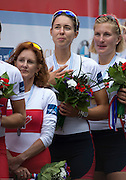 Amsterdam. NETHERLANDS.  left CAN W8+ cox, Lesley THOMPSON-WILLIE, centre  USA W8+. Bow Victoria OPITZ and  Meghan MUSNICKI,  USA Gold medalist Women's Eight. .  De Bosbaan Rowing Course, venue for the 2014 FISA  World Rowing. Championships. 14:18:07  Sunday  31/08/2014.  [Mandatory Credit; Peter Spurrier/Intersport-images]