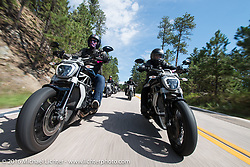 Riding Ducatis on the Mayor's Ride during the annual Sturgis Black Hills Motorcycle Rally.  SD, USA.  August 8, 2016.  Photography ©2016 Michael Lichter.