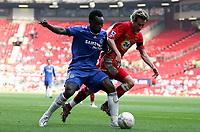 Photo: Paul Thomas.<br /> Blackburn Rovers v Chelsea. The FA Cup, Semi Final. 15/04/2007.<br /> <br /> Michael Essien (L) gets past Morten Gamst Pedersen of Blackburn.