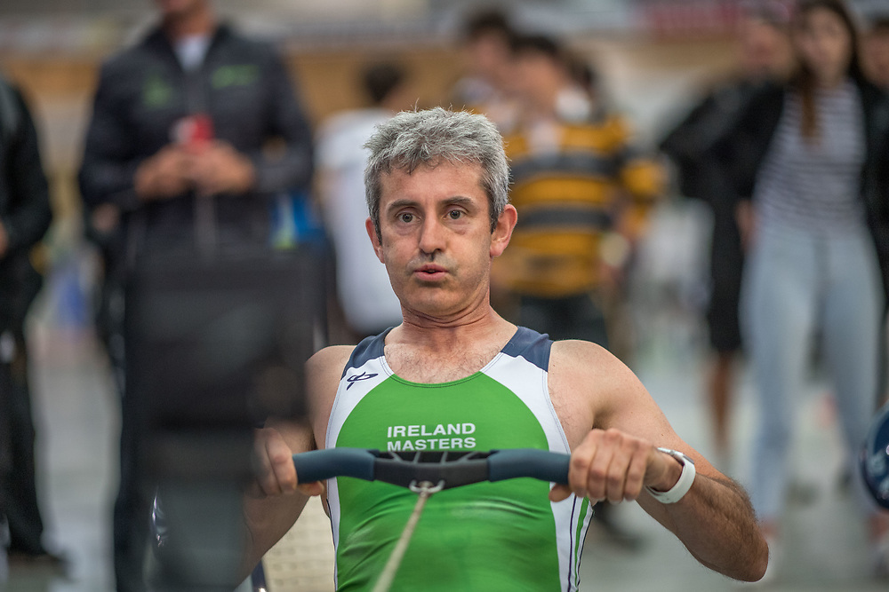 Ger Sheehan MALE HEAVYWEIGHT Masters C 2K Race #1 08:30am<br /> <br /> www.rowingcelebration.com Competing on Concept 2 ergometers at the 2018 NZ Indoor Rowing Championships. Avanti Drome, Cambridge,  Saturday 24 November 2018 © Copyright photo Steve McArthur / @RowingCelebration