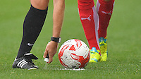The referee marks the line for the free kick<br /> <br /> Photographer Dave Howarth/CameraSport<br /> <br /> The EFL Sky Bet League One - Fleetwood Town v Coventry Town - Saturday 3 September 2016 - Highbury Stadium - Fleetwood<br /> <br /> World Copyright © 2016 CameraSport. All rights reserved. 43 Linden Ave. Countesthorpe. Leicester. England. LE8 5PG - Tel: +44 (0) 116 277 4147 - admin@camerasport.com - www.camerasport.com