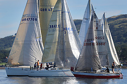 Peelport Clydeport Largs Regatta Week 2013 <br /> <br /> Mixed fleets prior to the start. <br /> Largs Sailing Club, Largs Yacht Haven, Scottish Sailing Institute