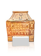 Minoan  pottery gabled larnax coffin chest with double axe and papyrus decorations,  Anthanatoi 1370-1250 BC, Heraklion Archaeological  Museum, white background. .<br /> <br /> If you prefer to buy from our ALAMY PHOTO LIBRARY  Collection visit : https://www.alamy.com/portfolio/paul-williams-funkystock/minoan-art-artefacts.html . Type -   Heraklion   - into the LOWER SEARCH WITHIN GALLERY box. Refine search by adding background colour, place, museum etc<br /> <br /> Visit our MINOAN ART PHOTO COLLECTIONS for more photos to download  as wall art prints https://funkystock.photoshelter.com/gallery-collection/Ancient-Minoans-Art-Artefacts-Antiquities-Historic-Places-Pictures-Images-of/C0000ricT2SU_M9w