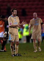 Photo: Jed Wee.<br />Blackpool FC v Bristol City. Coca Cola League 1. 21/01/2006.<br />Bristol's Marcus Stewart applauds the fans at the end of the game.
