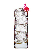 Hi Key image of a Tall glass of seltzer on the rocks with a pink flamingo cocktail stick and chunks of clear ice, vodka, Gin, lots of bubbles.